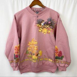 vintage pullover sweatshirt chipmunks nature